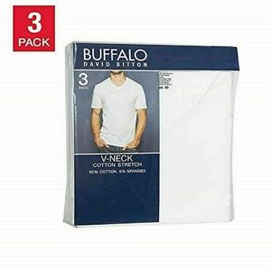 Buffalo David Bitton Shirts - Men's 3-Pack V-Neck Classic Fit Cotton T-shirt